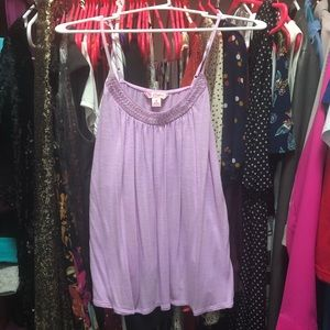 Violet tank with beaded neckline detail